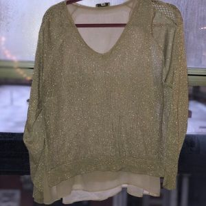 Lucky Brand Champagne Color Sheer Sweater